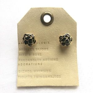 Anthropologie Floral Black Gold Stud Earrings